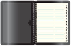 Address book. Black address book open first page, illustration Royalty Free Stock Photography