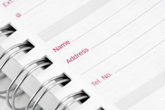 Address book close up Stock Photography