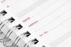Address book close up Stock Photography