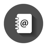 Address book icon. Email note flat vector illustration with long shadow Stock Photo