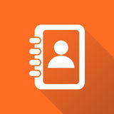 Address book icon with long shadow. Contact note flat vector illustration on orange background Royalty Free Stock Photo