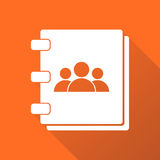 Address book icon with long shadow. Contact note flat vector illustration on orange background stock illustration