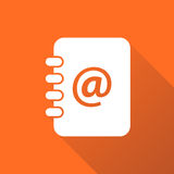 Address book icon with long shadow. Email note flat vector illustration on orange background Royalty Free Stock Photography