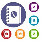 Address book icons set Royalty Free Stock Images