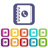 Address book icons set Royalty Free Stock Image