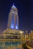 Address Downtown Dubai. The Address Downtown hotel in Dubai at night Royalty Free Stock Photography