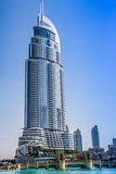 Address Hotel in the downtown Dubai area overlooks the famous da Royalty Free Stock Photography