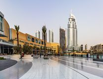 View of Address Hotel Downtown Dubai next to Dubai Mall. Dubai -. Address Hotel Downtown Dubai and Dubai Mall Stock Photography