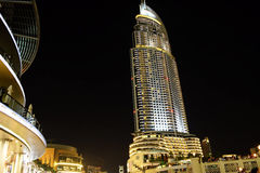 Address Hotel, Dubai Mall. Address Hotel, downtown Dubai at night Royalty Free Stock Photography