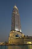 The Address Hotel illuminated at night, Dubai Royalty Free Stock Images