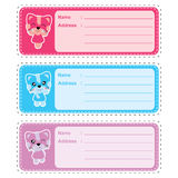 Address label cartoon with cute colorful cat girl suitable for kid address label design royalty free illustration