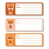 Address label cartoon with cute fox girls on colorful background stock illustration