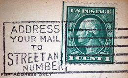 Address Mail by Street and Number Postmark. A postcard cancellation from the early 20th century urging postal customers to address mail with street and number Stock Images