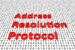 Address resolution Protocol. Is presented in the form of binary code 3d illustration Stock Image