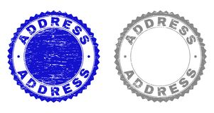 Textured ADDRESS Grunge Stamps with Ribbon. ADDRESS stamp seals with distress texture in blue and gray colors isolated on white background. Vector rubber imprint stock illustration