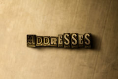 ADDRESSES - close-up of grungy vintage typeset word on metal backdrop. Royalty free stock illustration.  Can be used for online banner ads and direct mail Stock Photos
