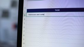 Addresses and contact info for clients written in task diary, secretary schedule. Stock footage stock footage