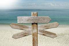 Addresses of wood on the beach. Sign Royalty Free Stock Photography