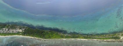 Addu环礁或Seenu环礁,南部马尔代夫海岛的多数环礁 免版税库存照片