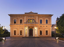 ADE society of arts. Public services Royal Gallery of South Australia in Adelaide - society of arts historic building at sunset with illumination stock photography