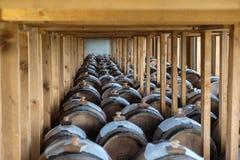 Adega com os tambores do vinagre balsâmico fotografia de stock