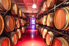 Adega velha com os tambores de vinho de madeira grandes Imagens de Stock