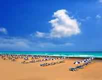 Adeje strand Playa Las Americas i Tenerife Arkivbilder