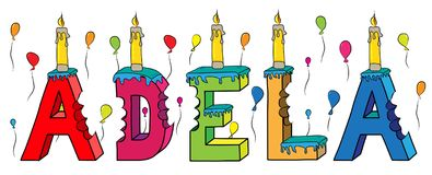 Adela female first name bitten colorful 3d lettering birthday cake with candles and balloons.  Royalty Free Stock Images