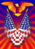 Adelaar en vlag stock afbeeldingen