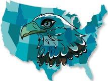 Adelaar over de kaart van de V.S. Stock Foto's