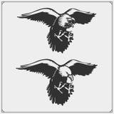 adelaars Emblemen en malplaatje voor het ontwerp van de sportclub royalty-vrije illustratie