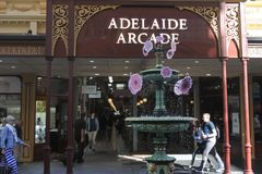 Adelaide Arcade in Adelaide, South Australia State Australia. Adelaide Arcade, a very popular local and tourist attraction in Adelaide, South Australia State stock image