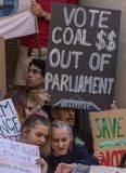 Climate Change - Ides of March 2019. Adelaide, AU - March 15, 2019: Thousands of students in Adelaide gather outside of Parliament House demanding action on royalty free stock image