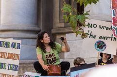 Climate Change - Ides of March 2019. Adelaide, AU - March 15, 2019: Thousands of students in Adelaide gather outside of Parliament House demanding action on royalty free stock images