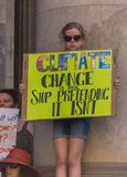 Climate Change - Ides of March 2019. Adelaide, AU - March 15, 2019: Thousands of students in Adelaide gather outside of Parliament House demanding action on stock images