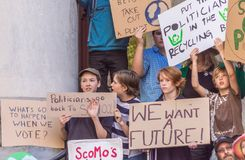 Climate Change - Ides of March 2019. Adelaide, AU - March 15, 2019: Thousands of students in Adelaide gather outside of Parliament House demanding action on royalty free stock photo