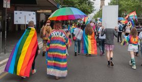 Marriage Equality October 2017. Adelaide, AU - October 22, 2017: Hundreds of supporters of Marriage Equality gather at Adelaide`s Old Parliament House to march Royalty Free Stock Photos