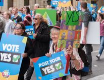 Marriage Equality October 2017. Adelaide, AU - October 22, 2017: Hundreds of supporters of Marriage Equality gather at Adelaide`s Old Parliament House to march Royalty Free Stock Photo