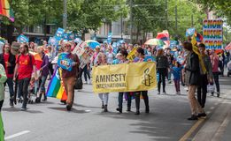 Marriage Equality October 2017. Adelaide, AU - October 22, 2017: Hundreds of supporters of Marriage Equality gather at Adelaide`s Old Parliament House to march Stock Photos