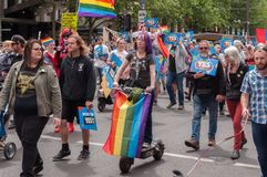 Marriage Equality October 2017. Adelaide, AU - October 22, 2017: Hundreds of supporters of Marriage Equality gather at Adelaide`s Old Parliament House to march Royalty Free Stock Image