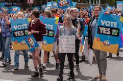 Marriage Equality October 2017. Adelaide, AU - October 22, 2017: Hundreds of supporters of Marriage Equality gather at Adelaide`s Old Parliament House to march Stock Image