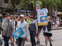 Marriage Equality October 2017. Adelaide, AU - October 22, 2017: Hundreds of supporters of Marriage Equality gather at Adelaide`s Old Parliament House to march Royalty Free Stock Photography