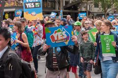 Marriage Equality October 2017. Adelaide, AU - October 22, 2017: Hundreds of supporters of Marriage Equality gather at Adelaide`s Old Parliament House to march Stock Images