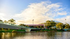 Adelaide Oval and Torrens river. Adelaide, Australia - August 27, 2017: Adelaide Oval viewed across Torrens river in Elder Park at sunset Royalty Free Stock Photos