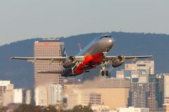 Jetstar Airways Airbus A320-232 airliner taking off from Adelaide Airport stock photos