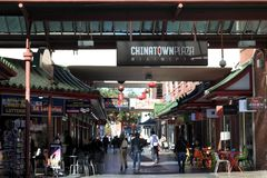 Adelaide Chinatown in Adelaide South Australia. People shopping at Adelaide Chinatown, a popular tourist attraction consists mainly of Chinese restaurants and stock images