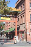 Adelaide Chinatown in Adelaide South Australia. People shopping at Adelaide Chinatown, a popular tourist attraction consists mainly of Chinese restaurants and royalty free stock photos