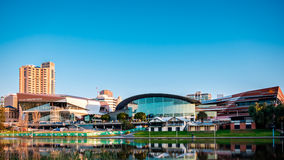 Adelaide City centre. Adelaide, Australia - September 11, 2016: Adelaide Convention Centre viewed from the north side of Torrens river in Elder Park on a bright Stock Photography