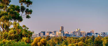 Adelaide city from the hills. View at Adelaide city from the hills at sunset stock photo