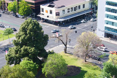 Adelaide city intersection high viewpoint. Adelaide, South Australia - October 7, 2015: Aerial view of the intersection of Pirie Street and Pultney Street Stock Photo